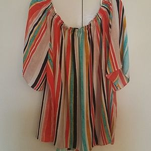 Colorful vertical stripes flowy blouse new XL